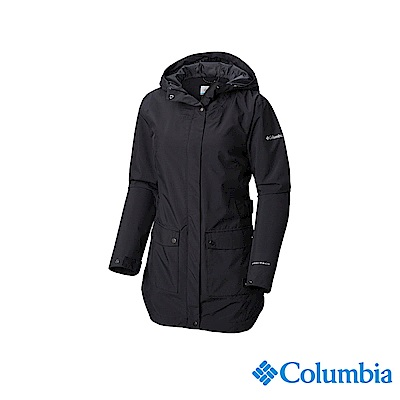 Columbia 哥倫比亞 女款-OT防水長版外套-黑色 UWR01980BK