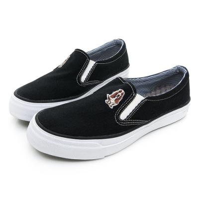 Hush Puppies 經典中性咖啡紗懶人鞋-黑色
