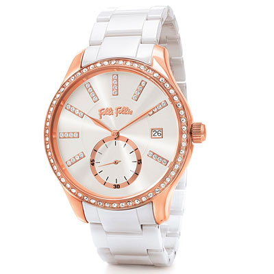 Folli Follie Style Bonding 奢華水鑽陶瓷腕錶36mm/白