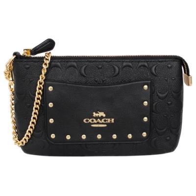 COACH黑色浮雕C Logo全皮鍊帶中款手拿包
