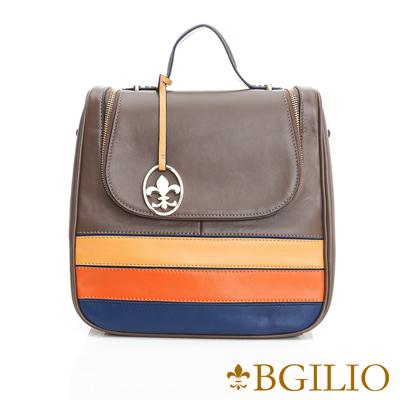 義大利BGilio-NAPPA軟牛皮學院風撞色後背包-灰褐x黃藍-1942.005-06
