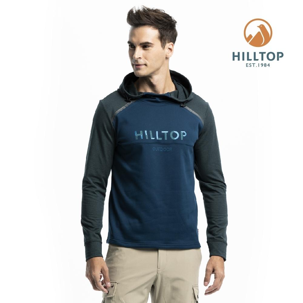 【hilltop山頂鳥】男款ZISOFIT保暖吸濕抗菌刷毛上衣H51MI7月光藍