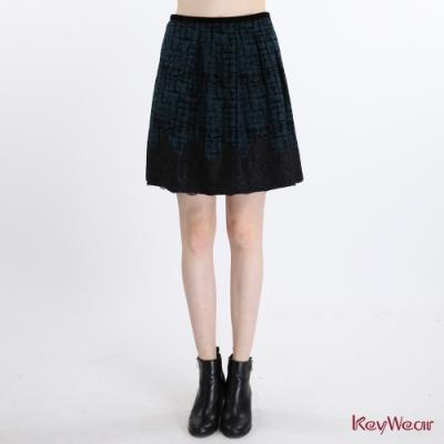 KeyWear奇威名品    優雅華麗格紋植絨拼接蕾絲短裙-藍綠色