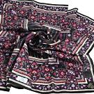 ANNA SUI 繽紛幾何花朵圖騰燙金字母LOGO大帕領巾(黑系)