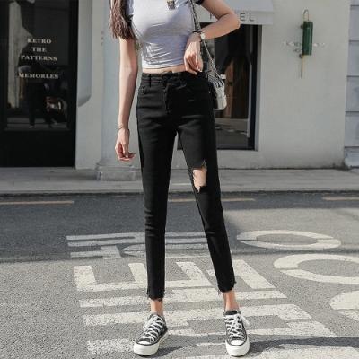 青春時尚破洞率性黑毛邊小腳牛仔褲L-4XL-KVOLL