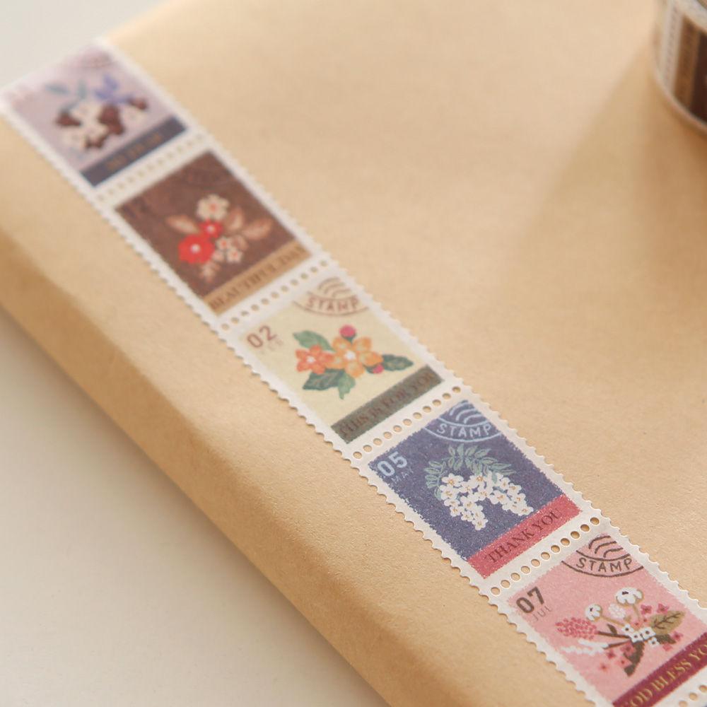 Dailylike 郵票造型紙膠帶(單捲)-08花卉