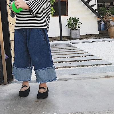 小衣衫童裝  中小童春夏時尚反面拼接褲管牛仔闊腿褲1080211
