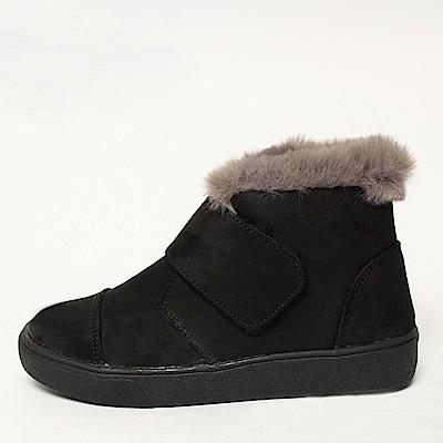 【AIRKOREA韓國空運】潮流魔鬼氈超保暖內鋪毛短筒靴平底靴-黑