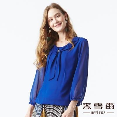 【麥雪爾】氣質雪紡水鑽素色上衣-寶藍