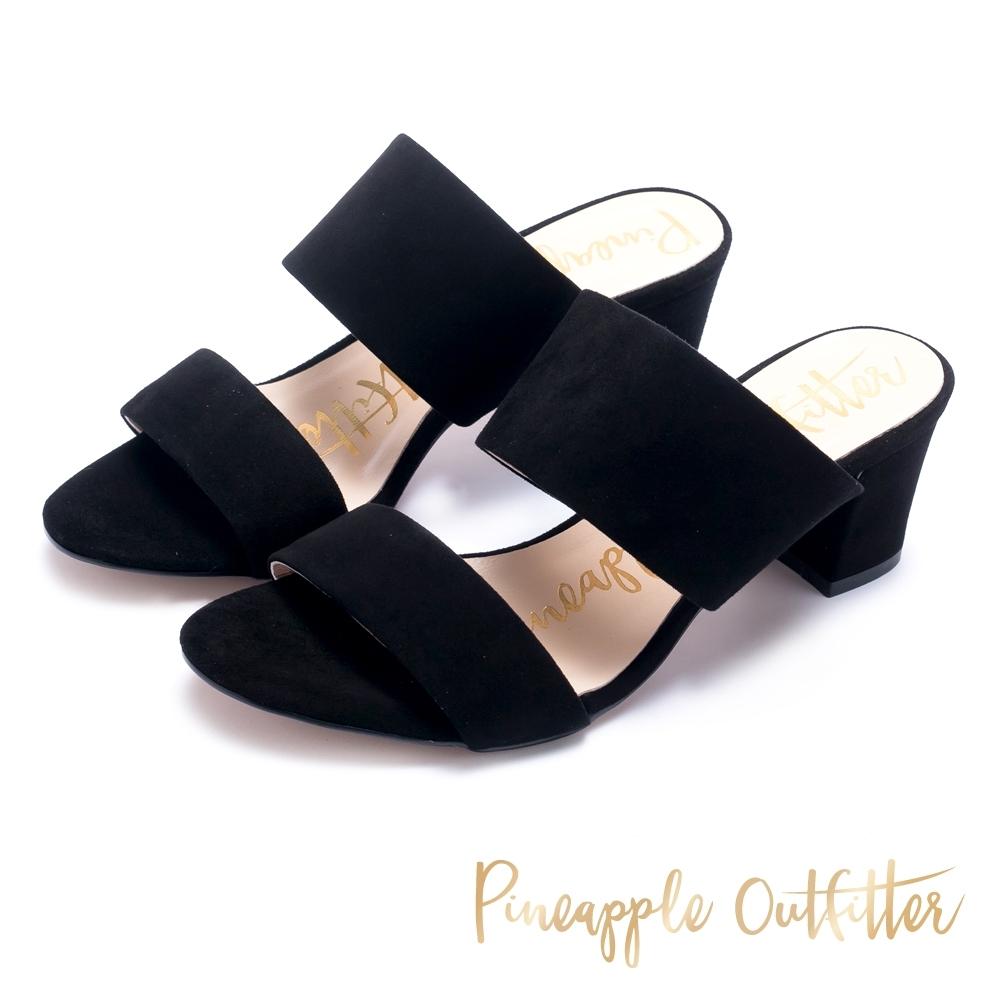 Pineapple Outfitter-寬版二字帶高跟拖鞋-絨黑