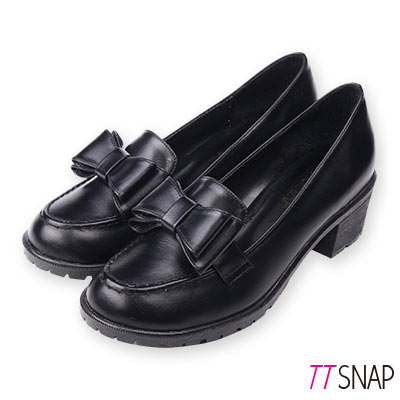 TTSNAP訂製款-可愛雙層蝴蝶結中跟紳士鞋 黑