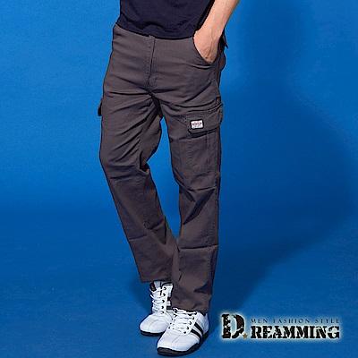 Dreamming 時尚風潮布標伸縮休閒工作長褲-深灰