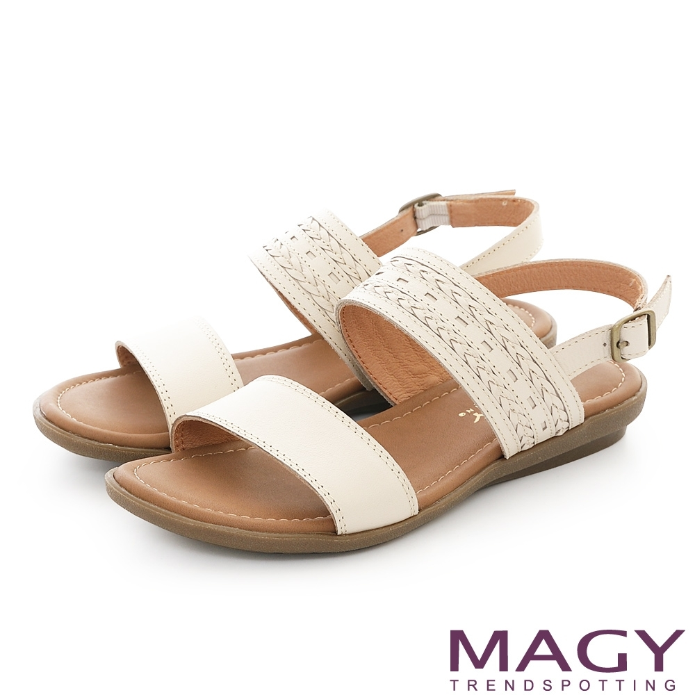 MAGY 雙帶牛皮編織平底 女 涼鞋 米色