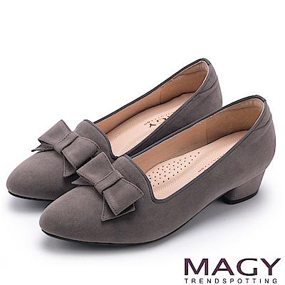 MAGY 復古上城女孩 質感絨布蝴蝶結低跟鞋-灰色