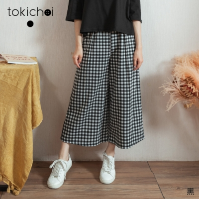 東京著衣 MIT微加幸福黑白細格腰鬆緊舒適寬褲