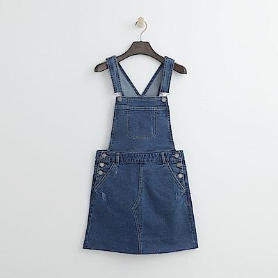 Hang Ten - 女裝 - 牛仔吊帶短裙-水藍色