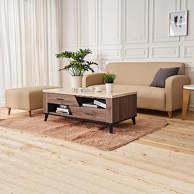 時尚屋 西恩納L型透氣貓抓皮沙發(共11色)+克里斯二抽茶几