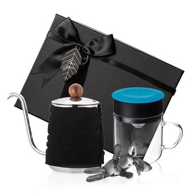 【PO:Selected】丹麥手沖咖啡禮盒組(手沖咖啡壺-黑/咖啡玻璃杯240ml-藍)