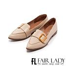 Fair Lady 古銅釦帶尖頭樂福平底鞋 象牙