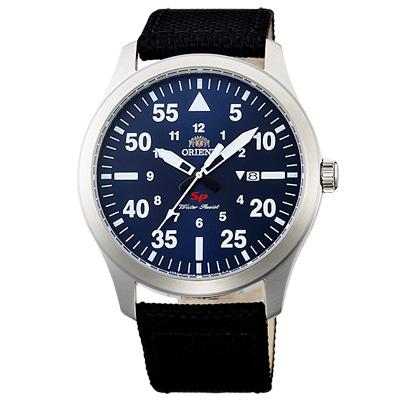 ORIENT東方SP飛行運動尼龍帶時尚手錶-藍X黑帶/42mm