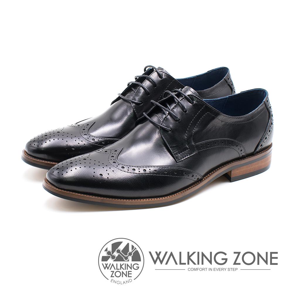 WALKING ZONE 雕花壓紋圓頭綁帶車縫男皮鞋-黑(另有棕)