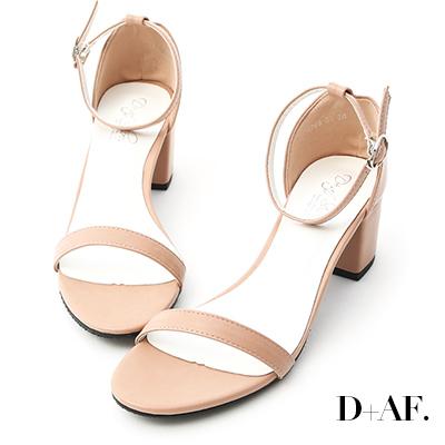 D+AF 恬靜夏氛.簡約一字繫踝中跟涼鞋*粉