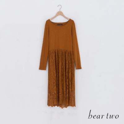 beartwo-蕾絲百摺洋裝-黃