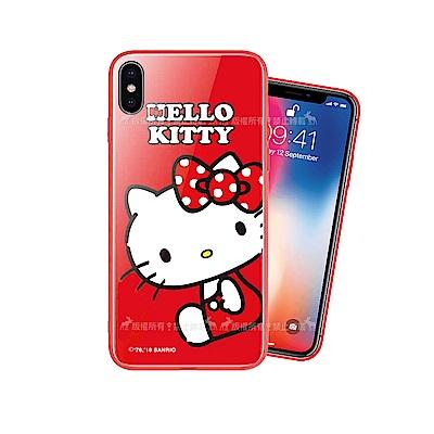 Hello Kitty iPhone Xs / X 5.8吋 鋼化玻璃手機殼(坐姿)