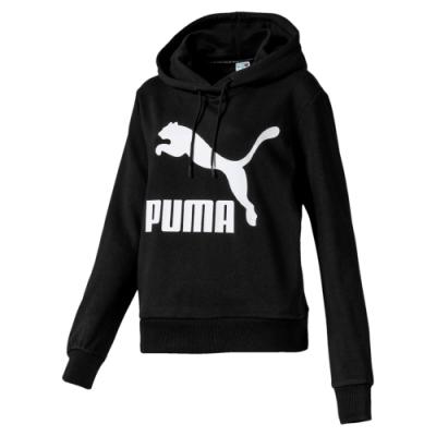 PUMA-女性流行系列Classics長厚連帽T恤-黑色-歐規