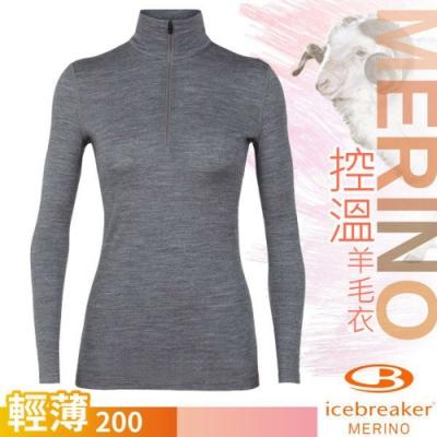 Icebreaker 女 200 Oasis 美麗諾羊毛輕薄款半開襟長袖上衣_季風灰