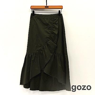 gozo 素面大波浪斜邊中長魚尾裙(二色)