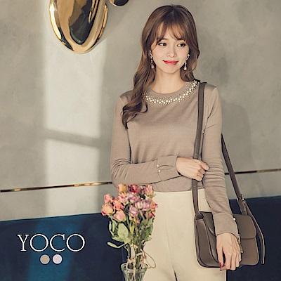 東京著衣-yoco 優雅珍珠圓領袖口反褶針織衣-S.M.L.XL(共二色)