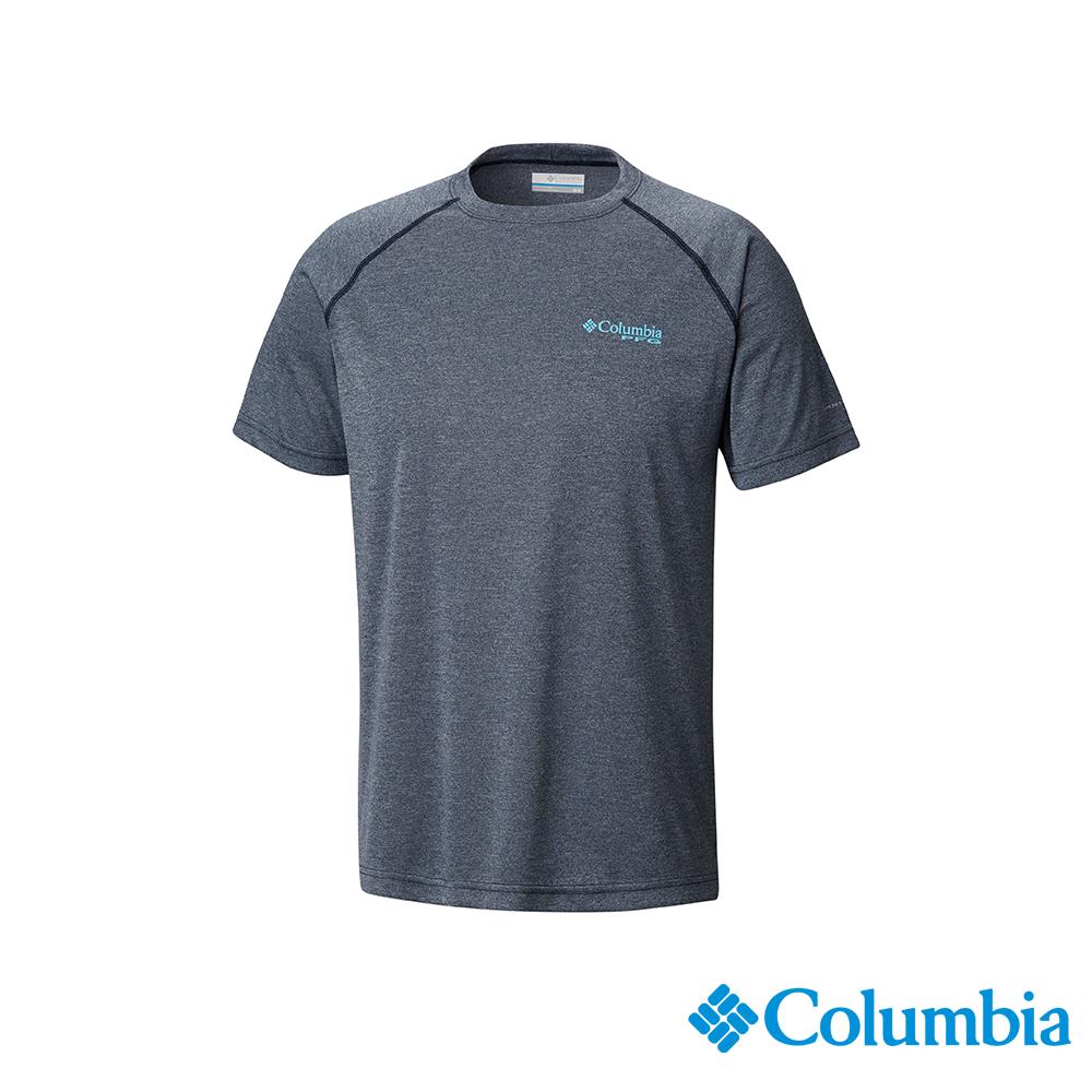 Columbia哥倫比亞 男款-UPF50快排短袖上衣-深藍 UFM00760NY