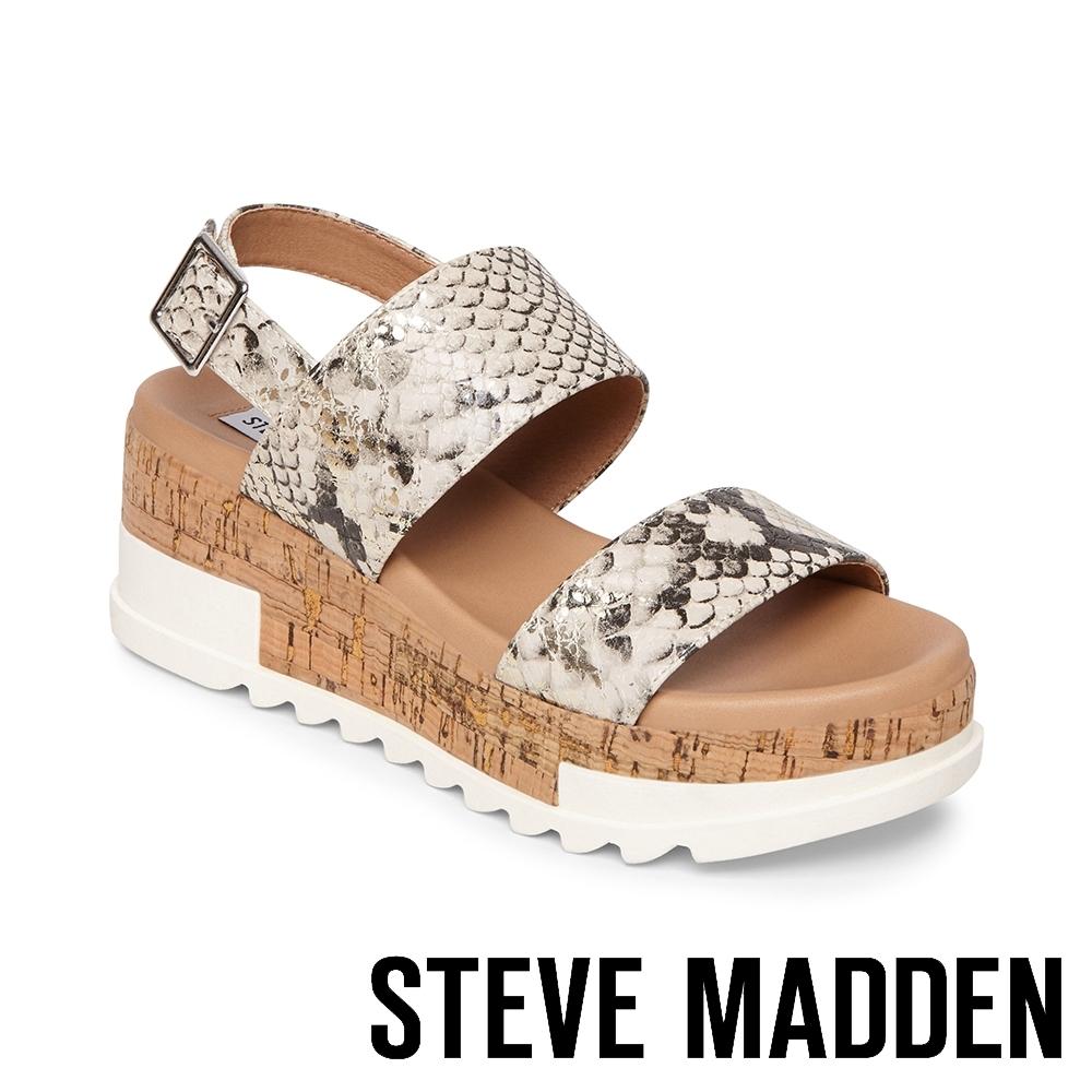 STEVE MADDEN-BRENDA 蛇皮金屬扣環跳色厚底涼鞋-金色