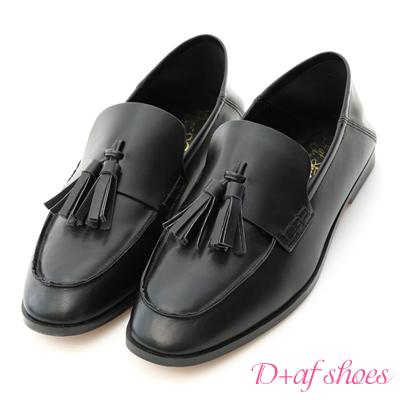 D+AF 復古品味.小流蘇後踩式二穿樂福鞋*黑