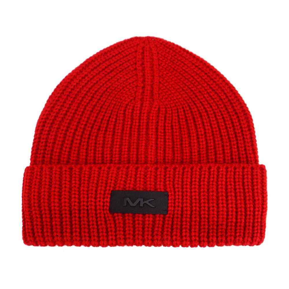 MK MICHAEL KORS縮寫LOGO針織毛帽-紅