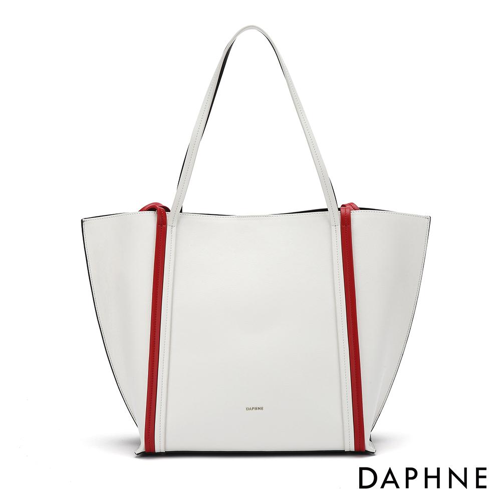 達芙妮DAPHNE-經典撞色子母托特包-白色