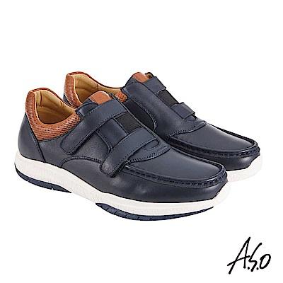 A.S.O機能休閒 萬步健康鞋 雙帶魔鬼黏休閒鞋-深藍