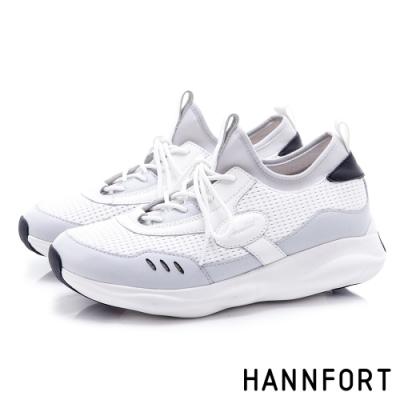 HANNFORT BUBBLES 真皮拼接網布厚底跑鞋-女-白