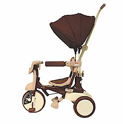 日本iimo #02 遮陽款 兒童三輪車(棕色) 腳踏車 手推車