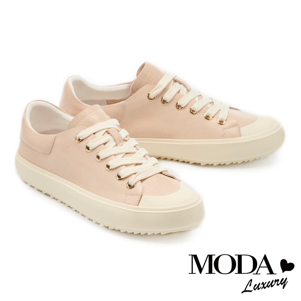 休閒鞋 MODA Luxury 俏皮百搭素色全真皮綁帶厚底休閒鞋-粉