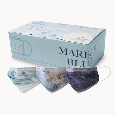 清新宣言 一心一罩 紋路唯美系列 成人醫用口罩-藍色系(10入x3款,共30入/盒)