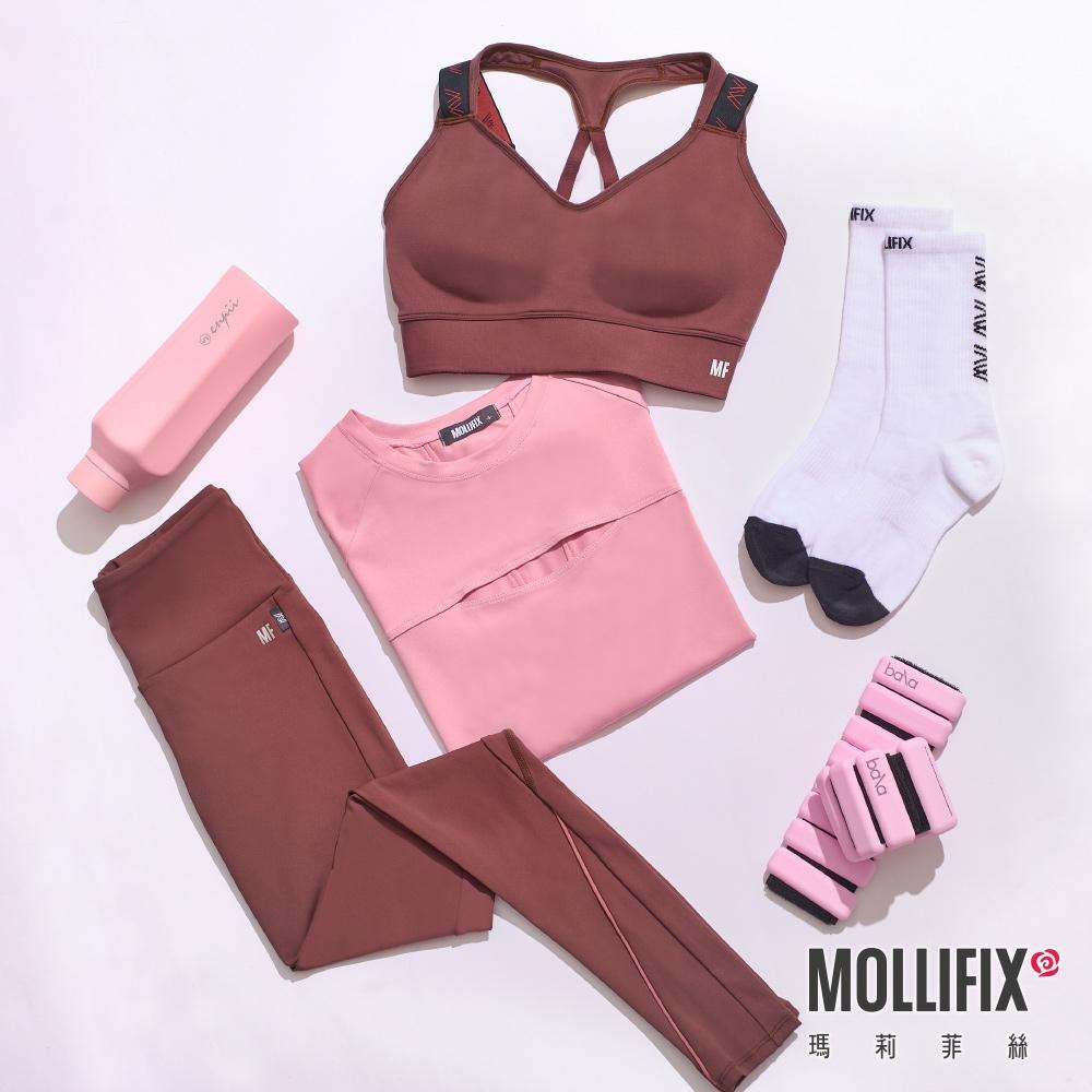 【小禎聯名設計】Mollifix 瑪莉菲絲 TRULY休閒螺紋運動中筒襪(白)