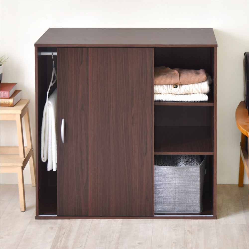 《HOPMA》DIY巧收滑門三格衣櫃/衣櫥/櫃子-寬90X深48X高90cm product image 1