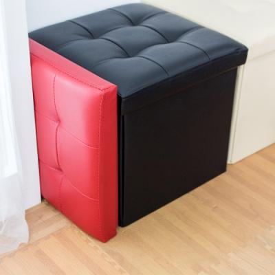 樂嫚妮 仿皮革收納凳/椅凳/收納箱/換季-38X38X38cm-黑