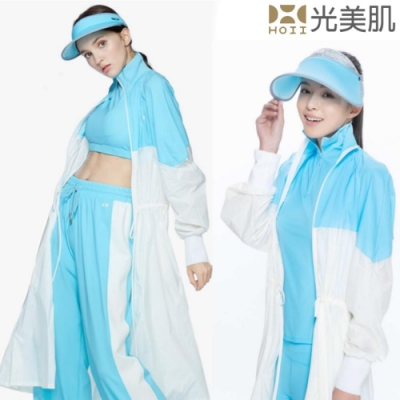 HOII光美肌-后益先進光學布-美膚光拼接長版立領抽繩外套(藍光)預購