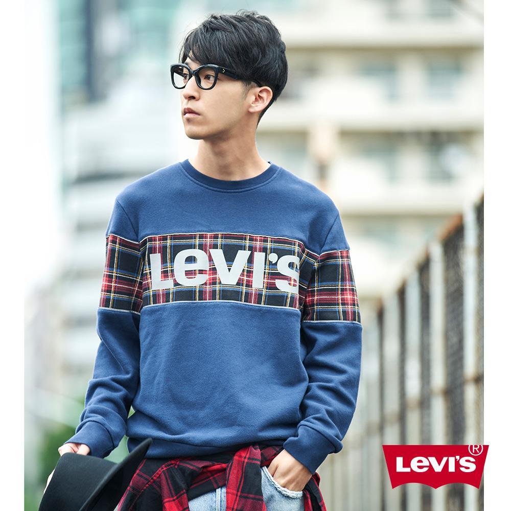 Levis 男款 大學T 蘇格蘭格紋Logo 英式紳士風