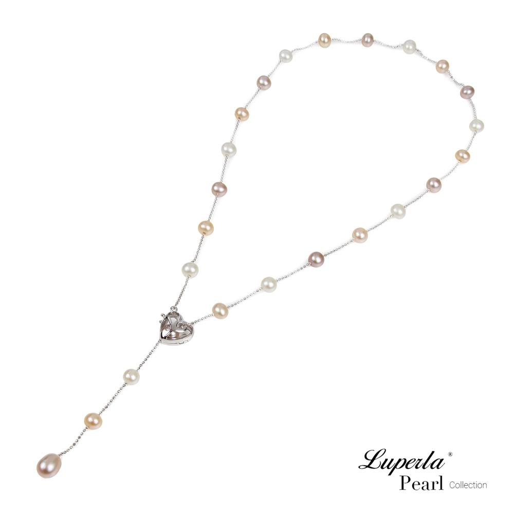 大東山珠寶 天然珍珠項鍊Y字垂鍊心型扣 摯愛濃情