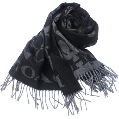 COACH   義大利製大C LOGO 寬版羊毛流蘇圍巾 _深黑灰