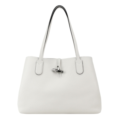 LONGCHAMP ROSEAU ESSENTIAL 竹節托特包(中/灰白)